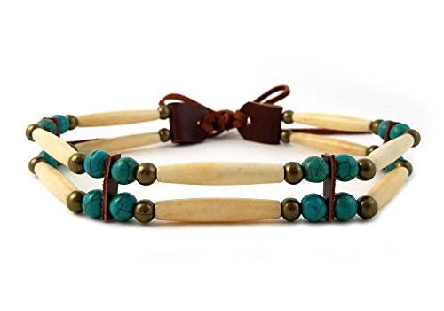 Handmade 2 Line Antiqued Buffalo Bone Hairpipe Beads Traditional Tribal Choker Necklace