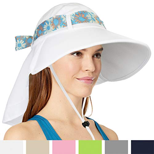 (Womens Sun Hat, Summer UV Protection Outdoor Hat with Wide Brim, Neck Cover Flap, and Adjustable Chin Strap | UPF50 + Breathable Foldable Ladies Cap for Gardening, Hiking, Fishing (White))
