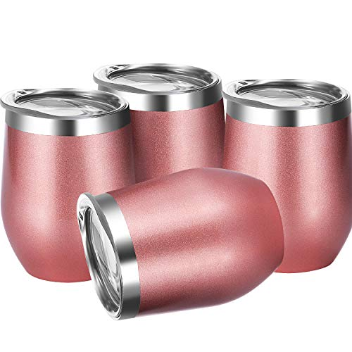 Skylety 4 Pack 12 Oz Unbreakable Triple-Insulated Stemless Wine Tumbler, Stainless Steel Wine Glass Cup with Lids, Drink-ware Glasses for Wine, Coffee, Champagne, Cocktails and Beer (Rose Gold-1)