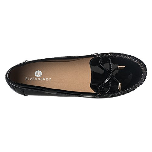 Riverberry Kvinners Layla Mote Tie Fram Mocassin Loafers Svart Patent