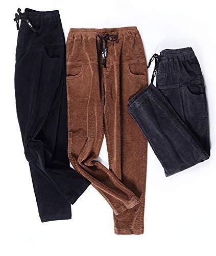 o Aeneontrue acanalado negro casuales estilo2 en mujer pantalones oto bolsillos los terciopelo tirar bolsillos rpqBEtpw