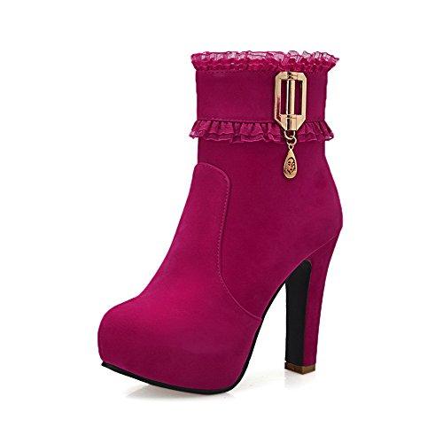 AmoonyFashion Women's Solid Flock High-Heels Zipper Round Closed Toe Boots, Peach, 38