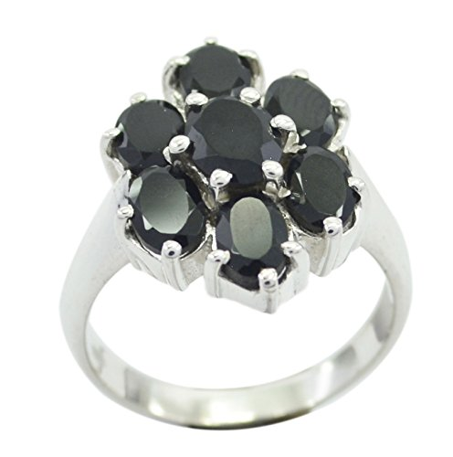 (55Carat Genuine Black Onyx Ring Sterling Silver Oval Shape Chakra Healing US 4,5,6,7,8,9,10,11,12)