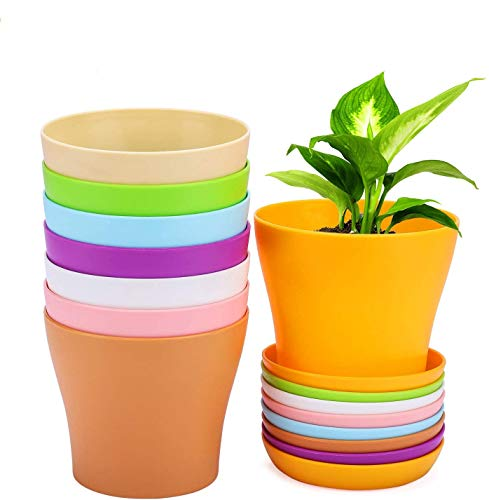 WOHOUS Plastic Nursery Pots, 8 Pcs Colorful Flower Planting Pots 4 Inch Pots for Plants Modern Decorative Gardening Pot…