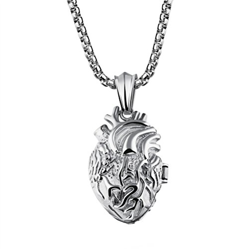 PAURO Men's Stainless Steel Anatomical Organ Heart Pendant Necklace Silver Small, Locket Style
