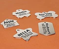 Taglory Placas para Perros grabadas/Acero Inoxidable/Grabado Personalizado/hasta 8 líneas de Texto en la Parte Delantera y Trasera/Grabado con ...