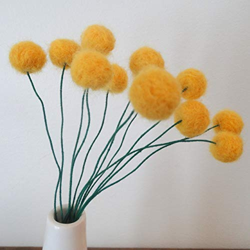 Felt-craspedia-flowers-Sunflower-yellow-wool-pom-poms-Pompom-flowers-Faux-flower-bouquet-Bright-floral-arrangement-Felt-billy-balls