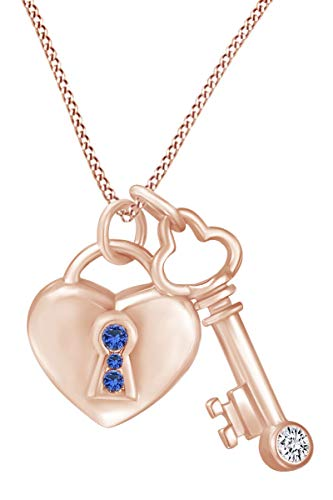 AFFY Round Shape Simulated Sapphire & CZ Lock and Key Pendant Necklace 14k Rose Gold Over Sterling Silver