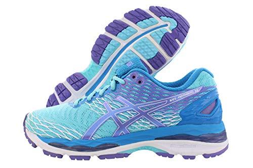 ASICS Women's Gel-Nimbus 18 Running Shoe, Turquoise/Iris/Methyl Blue, 6 M US