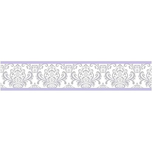 Sweet Jojo Designs Lavender, Gray and White Damask Print Elizabeth Collection Kids and Baby Modern Wall Paper Border - Lavender Border