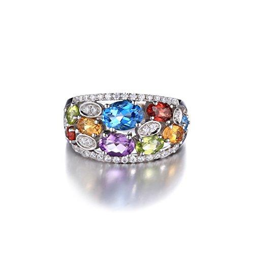 JewelryPalace Magnifique Bague Chevaliere Femme en Améthyste Citrine Grenat Péridot Topaze Naturelle en Argent Sterling 925