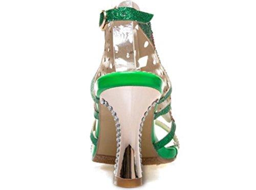 Catwalk Herradura Xie Las Rhinestones 34 Toe Band Compras La Green Word Sandalias Gold Dew Verano Y Fiesta 8cm Hebilla Señoras De 38 Cinturón WnTqAYxrT