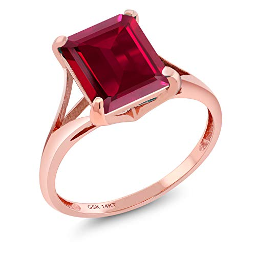 Gem Stone King 14K Rose Gold Red Created Ruby Women's Solitaire Ring 3.80 Ct Emerald Cut (Size 7) (Rose Gold Ruby Pink)
