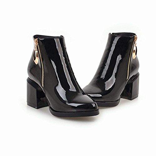Femme YE Haut Ferme Zip Talon Courtes Boots Hiver Chunky Bottine Bottes Bloc Plateforme Vernis ZHZr5xwq