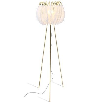 Lámpara de pie Blanca nórdica de la Pluma/lámpara de Piso ...