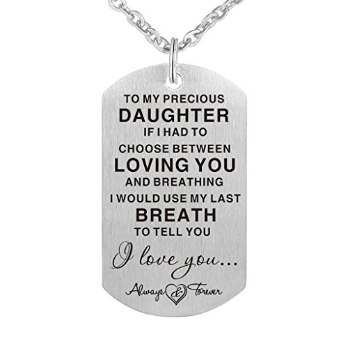 to My Precious Daughter Gift Necklace - I Love You Jewelry Pendant Present (Love Letter To My Girlfriend On Her Birthday)