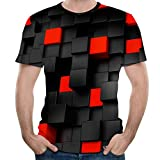 Forthery Men 3D Printed Casual Summer Short Sleeve Slim Fit T-Shirt Tees(Black,US Size L = Tag XL)