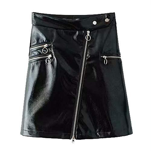 GYH Women Cuir Brillant High Waist Sexy Mini A Skirt Zipper Coupe Slim Short Skirt