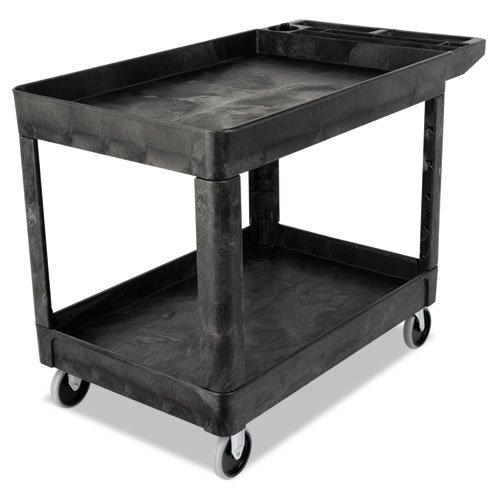 Rubbermaid Commercial Heavy-Duty Utility Cart, Two-Shelf, 25-7/8 x 45-1/4 x 33-1/4, Black - one cart.