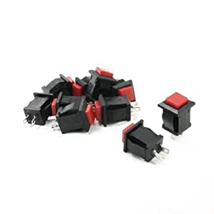 uxcell10Pcs Momentary Square Red Push Button Switch AC 250V/2A 125V/4A