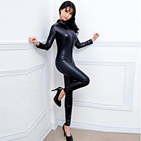 - 414UTQa924L - Women Sexy Faux Leather Wet Look Zipper Catsuit One Piece Metallic Crotchless Bodysuit Clubwear