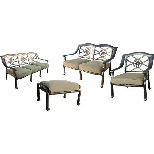 (Darlee Ten Star 4 Piece Cast Aluminum Patio Conversation Seating Set)