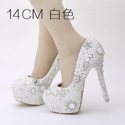 Drill Shoe Female 14Cm Dress VIVIOO Shoes Heel Super Platform Flower White Wedding Wedding Water Pearl Sandals Waterproof Adult Single Shoes 6 Heel Prom Bride HX4qAXT