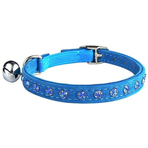 KOOLTAIL Blue Velvet Cat Collar with Bell and Safety Elastic Belt Rhinestones Crystal Jeweled 8-11 Inches