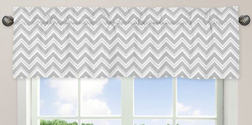 Window Valance for Turquoise and Gray Chevron Zig Zag Bedding Collection