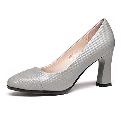 Zapatos de Mujer Aemember Primavera y Otoño carrera trayecto singles femeninos zapatos gruesos con zapatos High-Heeled ,35, gris