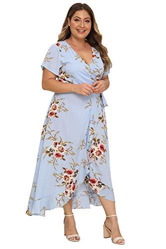 Milumia Women Plus Size Wrap V Neck Floral Boho Dress Lining Maxi Split Blue 1X (Boho 1)