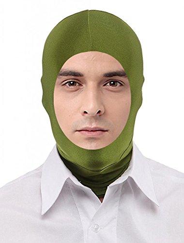 Seeksmile Unisex Lycra Spandex Full Cover Zentai Hood Mask (Adult Size, Olive -