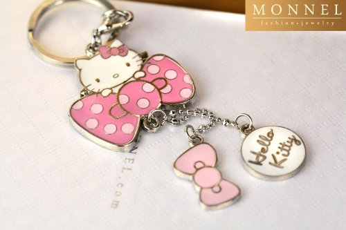 Z70_B New Adorable Hot Pink Style Bow Hello Kitty Charms Keychain Key - Hellokitty Bow