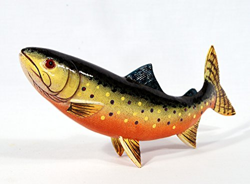 Handpainted Brown Brook Trout Statue Game Fish Replica - Brown Fish Star