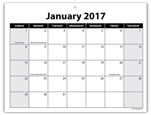 Guajolote Prints Calendar Notepad 2 Year 2017-2018 Monthly Organizer 8.5 x 11 inches