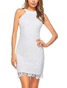 Lamilus Women's Casual Sleeveless Halter Neck Party Lace Mini Dress