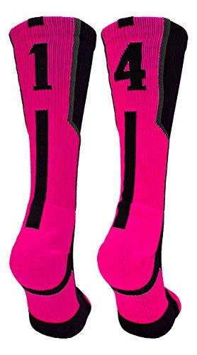 TCK Player Id Black/Neon Pink Number Crew Socks (#14, Medium)]()