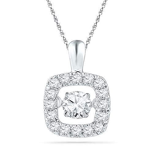 (Jewel Tie Solid 10k White Gold Round Diamond Square Moving Dancing Rhythm Twinkle Pendant (1/4)
