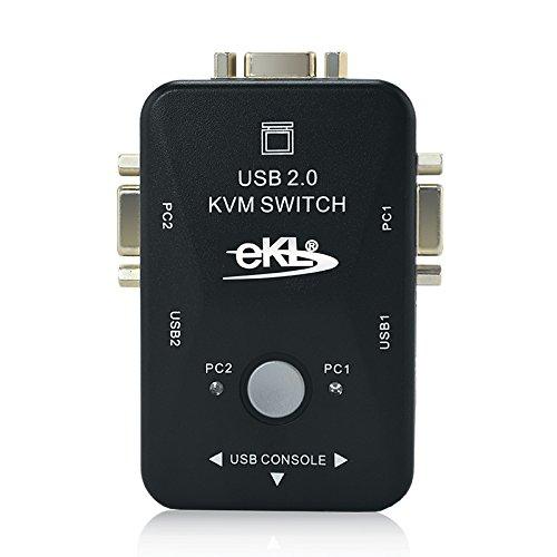 2 Ports USB 2.0 KVM Switch BOX Video Monitor VGA/SVGA Mouse Keyboard Color Black by Generic (Image #3)