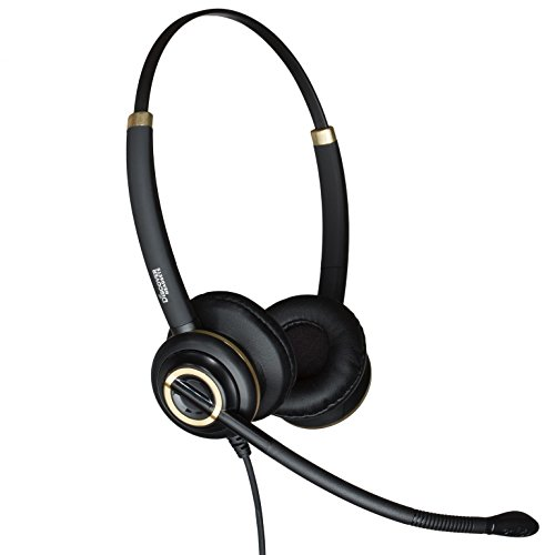 Discover D712 Deluxe Dual Ear Wired Office Headset With Noise Canceling Mic- 3 Year Advanced Warranty (Deluxe Mic)