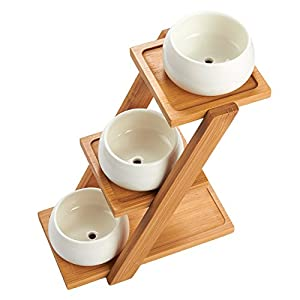 Bamboo Plant Stand – 3-Tier Plant Stand with 3 White Ceramic Pots, Narrow Shelf Unit, Shelf Organizer for Indoor, Outdoor Plant Display - 8.25 x 8.25 x 4.75 Inches