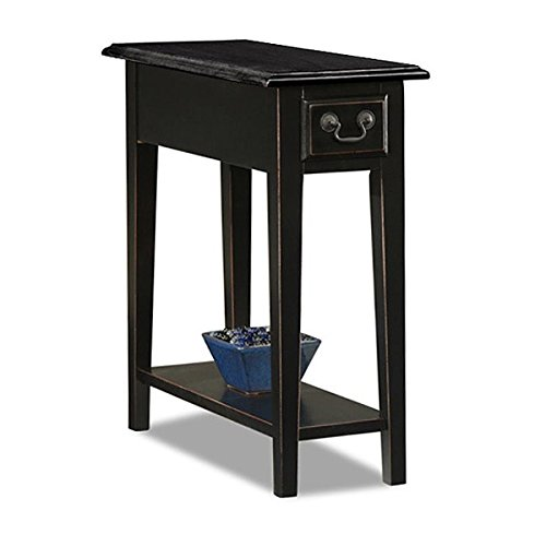 Black Ash Veneer - Traditional Beautifully Crafted Solid Rich Black Ash Color Oak Veneer Wood Side End Table Functional Handy Fine Detail Dovetailed Drawer Perfect Narrow Size Modern Rectangle Chairside Sleek Design