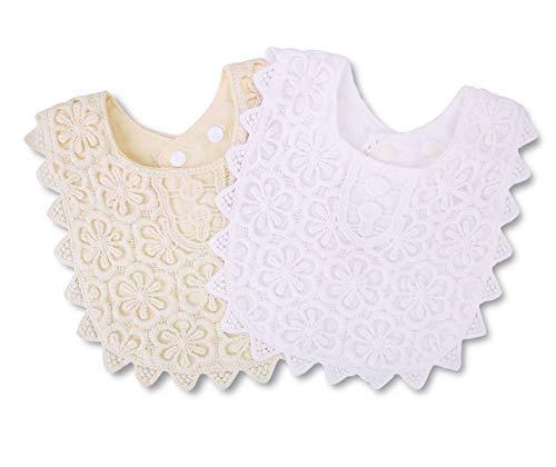 Baby Bib for Girls,Lace Fake Collar Natural Cotton Baby Drool Bib 0-2 Years 2 Pack