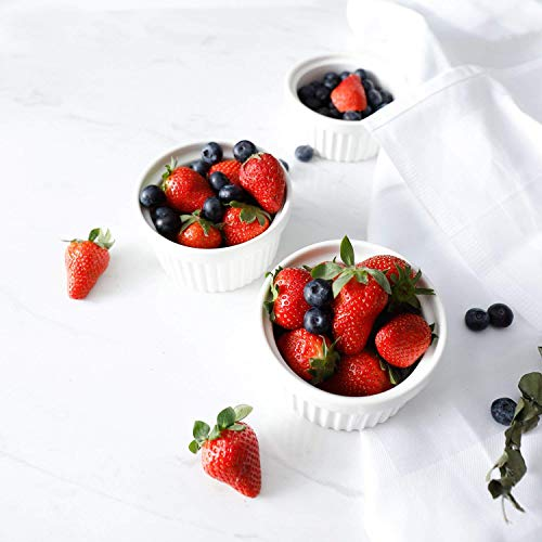 Sweese 5105 Porcelain Souffle Dishes, Ramekins - 8 Ounce for Souffle, Creme Brulee and Ice Cream - Set of 6, White by Sweese (Image #5)