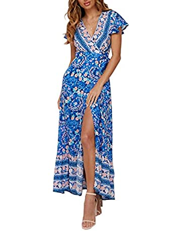 4bb8155de952 ZESICA Women's Bohemian Floral Printed Wrap V Neck Short Sleeve Split Beach Party  Maxi Dress