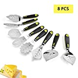 8 Pcs Leaf Shape Pizza Shovel, Cake Shovel, Stainless Steel Pizza Tool, Cheese Kitchen Spatula Tool for Baking Lovers
