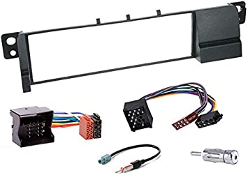 Sound-way Kit Montaje Autoradio, Marco 1 DIN Radio de Coche, Cable Adaptador Conector ISO, Adaptador Antena, Compatible con BMW Serie 3 E46, E36