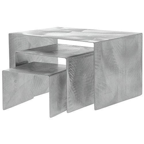 Metal Display Riser Set Urban Chic Swirled Stainless Steel Set of 3 ()