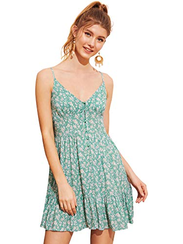SheIn Women's Button Front V Neck Floral Ruffle Spaghetti Strap Slip Cami Dress Turquoise - Spaghetti Strap Dress Shirred