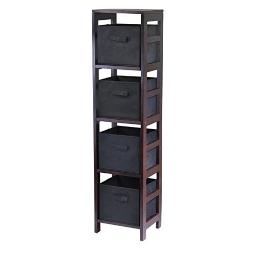 Winsome Leo 4-Section Tall Storage Shelf with 4 Foldable Black Fabric Baskets